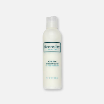 Face Reality Acne Face & Body Scrub is made with 2.5% benzoyl peroxide designed to cleanse, disinfect and exfoliate dead skin cells.